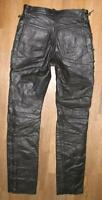 "Narrow Lace-Up Leather Jeans / Biker Trousers IN Black Approx. W26 ""/ L30 """
