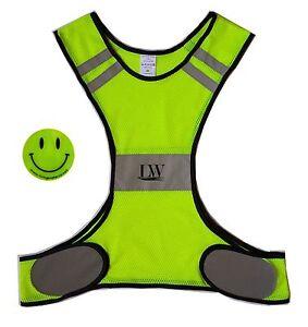 LW Reflective Biking Vest Yellow Safety with Bonus Sticker Running Walking hike
