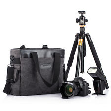 TARION Canvas Shoulder Messenger Bag Case Handbag for Nikon Canon DSLR Tripod