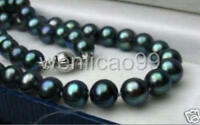 GENUINE AA+ 8-9MM BLACK NATURAL TAHITIAN PEARL NECKLACE 17""