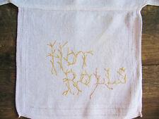 Vintage Hot Bread Basket Liner, Hand Embroidered, Jacquard Border Linen
