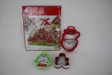 Wilton Christmas Santa Gingerbread Boy Tree Cookie Cutters Tray Kit New