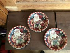 Certified International Susan Winget Father Christmas Set of 3 Dessert Plates