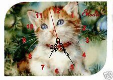 horloge pendule murale chat prénom texte au choix réf F 25