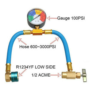 R1234YF Car Refrigerant Charging Hose Kit with 2in 50mm 100 Psi Pressure Gauge
