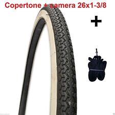 """1 Copertone Bianco/Nero + Camera d'aria 26x1-3/8 Deestone per Bici 26"""" Olanda"""