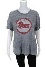 Sandro Womens Linen Short Sleeve Graphic Bowie Tee Shirt Gray Size Medium