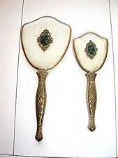 Beautiful Antique Carved Jade Medallions Hand Mirror & Matching Brush Set