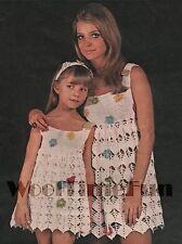 Crochet Pattern Lady's and Girl's Summer Dresses. Flower Detail.
