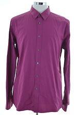 Hugo Boss Mens Shirt Large Purple Cotton Slim Line