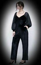 New Black Gothic Velvet Evening Two Piece Suit Top & Trousers size 5XL 26 28 30+