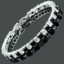Riva Black Onyx Cubic Zirconia Square 18K White Gold Plated Tennis Bracelet