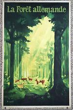 Original Travel Poster 1936 Germany German Forest Jupp Wiertz Deer Trees Sunbeam