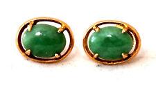 Vintage 14K Solid Gold and Natural Untreated Jadeite/Jade Earrings