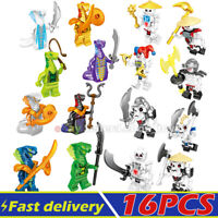 Lot of 16PCS Minifigures Set Ninja Ninjago Snakes Skeleton Mini Figures Weapons