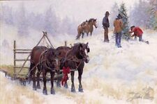 The Perfect Tree by Jim Rey Christmas Tree Cowboys Horses Signed Paper 12x17