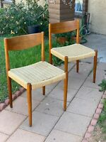 Danish Teak Woven Cord Dining Chairs Poul Volther for Frem Rojle MCM Furniture