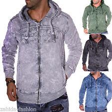 Herren Pullover Pulli Longshirt Hoodie Verwaschen Washed Used Look Vintage NEU