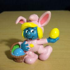 Smurfette Pink Bunny Smurf Easter Egg Basket Vintage Figure Smurfs PVC Lot 20497