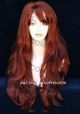 Long Wavy Layered Wig w. Bangs Off center Skin Part Fox Red HSJO 130
