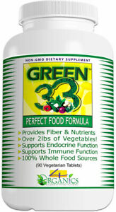 Green 33 Vegetable Daily Greens-in-a-Pill Superfoods Supplement (90 Tablets)