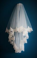 Bridal Veil *2 Tier Fingertip Length*Wide Corded Lace* Ivory/Off White*Bespoke*