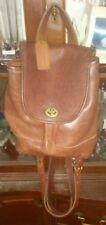 VINTAGE COACH 9960 BROWN LEATHER DAYPACK PURSE BACKPACK Brass TURNLOCK Cognac