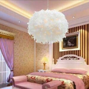 Large Feather Ceiling Pendant Chandelier Lamp Shade Morden Bedroom Lampshade