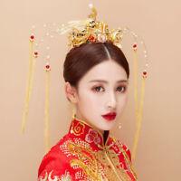Retro Chinese Bridal Crown Tiaras Wedding Headdress Accessories Earrings Set New
