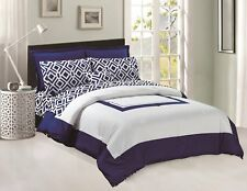 Comforter & Sheets set 8 pcs Soft Microfiber Navy Blue and White King Size
