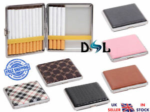 POCKET TOBACCO TIN Box/Case Faux Leather Slim Cigarette/Roll Up Holder Protector