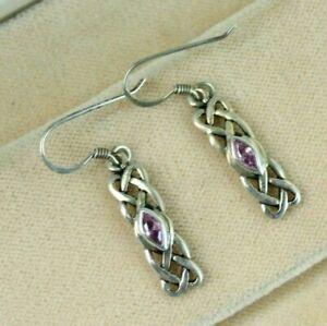 925 Sterling Silver Ladies Earrings Drop Dangle Celtic Knot Lilac Stone