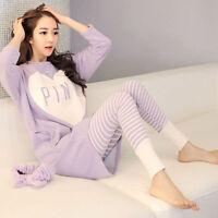 US 2Pcs Women Pajamas Set Ladies Long Sleeve Cotton Sleepwear Nightwear M-2XL