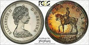 1973 CANADA R.C.M.P SILVER $1 DOLLAR BU PCGS SP66 MULTI COLOR GOLD TONED COIN