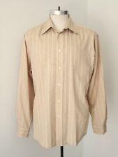 Vtg 70s Givenchy Gold Dash Stripe Silky Poly Dress Disco Pimp Lounge Shirt L