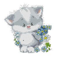 1Set Stamped Cross Stitch Kit Niedliche Kitty Muster Nadelarbeit für Erwachsene
