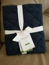 Pottery Barn Belgian Flax Linen Diamond Quilted Standard Sham Navy Midnight NEW!