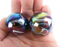 2 BOULDERS 35mm  MILKY WAY Marbles glass ball oil slick LARGE HUGE Swirl
