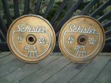 vtg SCHISLER BARBELL OLYMPIC 45s Bodybuilding Powerlifting FITNESS Gym York ab