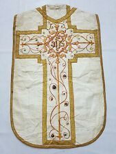 Antique French Embroidered Church Vestment Chasuble Priest Silver Braid (V108)
