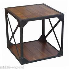 CUBE TABLE INDUSTRIAL DESIGN IRON FRAME SIDE END/BEDSIDE SOLID ACACIA WOOD NEW