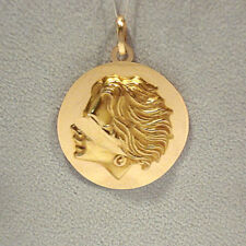 Head Portrait Pendant / Charm Solid 18K Yellow Gold Blind Justice