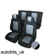 GREY & BLACK PREMIUM FULL CAR SEAT COVERS SET FOR MK 3 MK4 VW PASSAT GOLF POLO