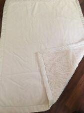 "Babies R Us Baby Blanket Plush Satin Edge Binding Ivory Boy Girl 29x39"""