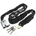 Black Heavy Duty Secuirty Motorcycle Bicycle Bike Scooter Chain PadLock 3 keys