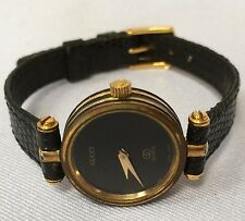 7944e9421bfcbb Gucci Ladies Quartz Watch Genuine Black Leather Band Running Swiss Made