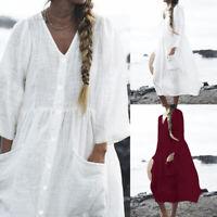 Size Women Long Sleeve Button Shirt Dress Blouse Casual Tunic Baggy Tops UK 8-26