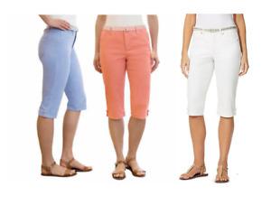 NEW Gloria Vanderbilt Women's Lillian Belted Skimmer Capri Pants, Colors/Sizes