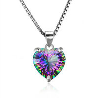 Mystic Rainbow Chain Heart-shaped Pendant Topaz Gems 925 Silver Necklace Jewelry