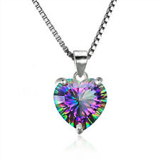 Mystic 925 Silver Necklace Jewelry Rainbow Chain Heart-shaped Pendant Topaz Gems